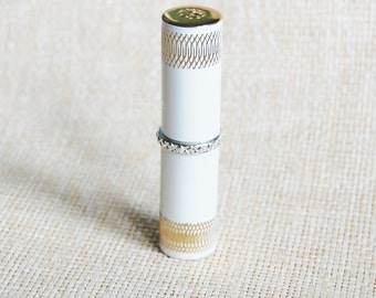 1950s Revlon Futurama Lipstick 502 Vintage Rockabilly White Gold and Silver Case Refillable Tube, Van Cleef & Arpels