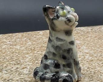 Miniature gray tabby cat -  porcelain sculpture