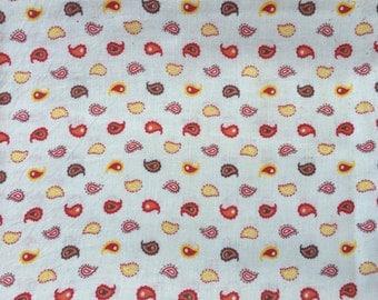 Vintage Orange Brown and Gold Paisley Print  Feedsack Fabric (No Longer a Sack)
