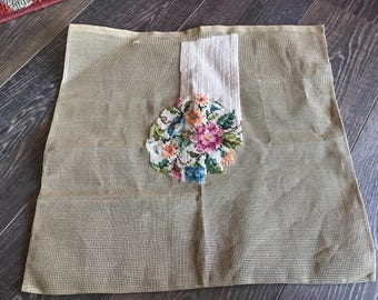 Vintage Unfinished Creamy White and Floral Bouquet Needlepoint