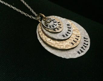 Mothers Day Gift Idea - 5 discs  - as Seen At THE DENVER POST and Channel 9 News - Personalized Your Charm - Two Tone Necklace --Simag