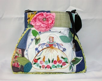 Denim Patchwork -Southern Belle Hand Embroidery -flowers -Handbag -adjustable-Messenger -Shoulder Bag- BagZGirl