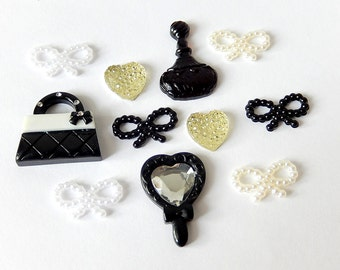 Black White Cabochon Mix, Deco Decoden DIY Supplies, Heart Cabochon, Bow Cabochons
