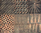African Cloth, Adire fabric, Black and Salmon Pink fabric, African Batik, Hand-dyed Textile, Fabric, Nigerian Adire, 2.25 Yards, Batik