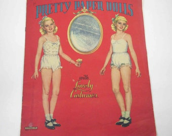 Vintage 1950s Pretty Paper Dolls with Lovely Costumes Book for Children Uncut Complete by Saalfield