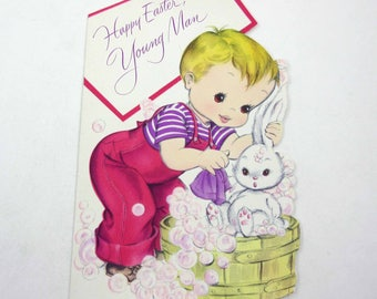 Vintage Unused Easter Greeting Card with Cute Boy Giving White Rabbit a Bath with Soap Bubbles American Greetings
