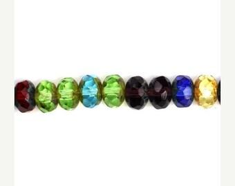 50% OFF SALE Czech Glass Beads Fire Polished Gemstone Donuts 9x6mm Dark Mix Picasso (25) CZF412