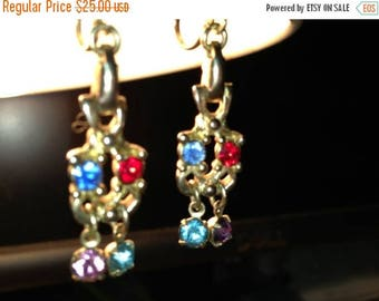 Vintage 1950's  Jewelry Signed Dangle Earrings, Bombay, Rhinestones, Multi Colored, Birthstone, Festive Dangle Earrings
