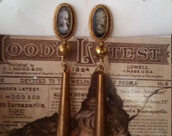 vintage gold filled updated cameo earrings.