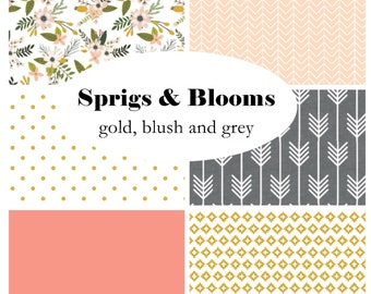 SPRIGS & BLOOMS-Custom Crib Bedding-3 piece+