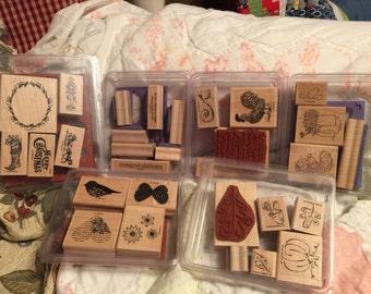Stampin up wood mounted stamp sets (medium)