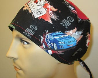 Mens Scrub Cap CaRS Print  OR Cap Nurses Cap Surgical Cap Teens Chemo Hat Free Ship USA Adjustable Chemo Hat
