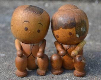 Vintage Japanese Kokeshi Dolls Couple Boy and Girl Wooden Dolls