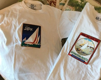 Two Sailboat Yachting little boys tshirts size childs XL 14/16 regatta and sailing