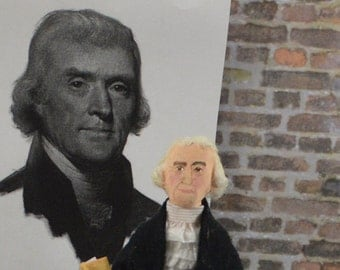 Thomas Jefferson, American President, Colonial History, Collectible Miniature Doll