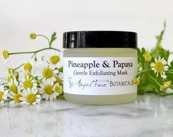SALE - Pineapple and Papaya Facial Mask - Organic Gentle Exfoliating Enzyme Face Mask with Soothing Chamomile and Comfrey for All Skin Types