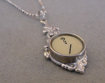 Typewriter Key Pendant Necklace QUESTION MARK Cream Typewriter Key Jewelry