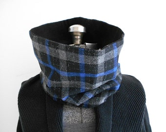 SALE Plaid wool cowl scarf, tube neckwarmer - grey, black reversible - eco vintage fabrics