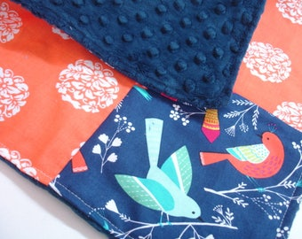 Birds in Spring Four Square Baby Minky Burp Cloth 12 x 12 READY TO SHIP On Sale