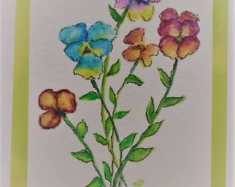 Watercolor Pansies Card Hand Painted Pansies Watercolor Card Handmade Greeting Cards Blank Cards