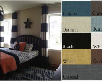 Custom Linen Solid or Color Block Drape with Lining - You pick the colors