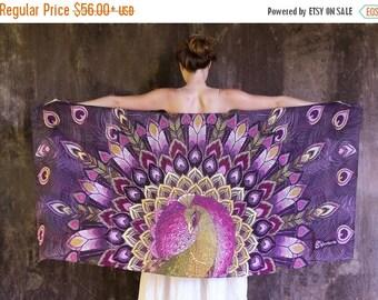 Cashmere Scarf, Peacock Scarf, Purple Silk Scarf, Hippie Shawl, Artistic Gift, Digital Print Scarf, Unique Gift, Silk Shawl, Batik Sarong