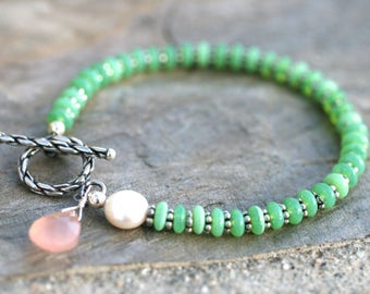 Chrysoprase, White Coin Pearl, Pink Chalcedony Gemstone Bracelet, Green, Pink, White Gemstone Bracelet, Gemstone Beaded Handmade Bracelet