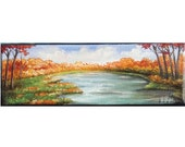 """Oil Knife Painting Fall by the River 3"""" x 9"""" READY to SHIP"""