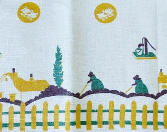 Sweet linen kitchen towel or table runner cottages and women working the soil