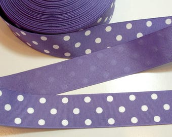 Purple Ribbon, Purple and White Polka Dot Grosgrain Ribbon 1 1/2 inches wide x 10 yards, Offray Polka Dot, SECOND QUALITY FLAWED