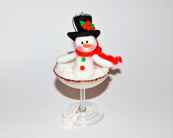 Snowman in a Martini Polymer Clay Christmas Ornament