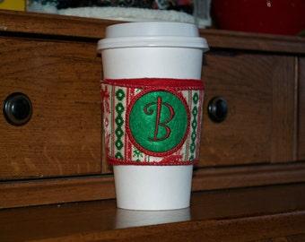 Christmas Sweater Monogramed Coffee Cozy Sleeve