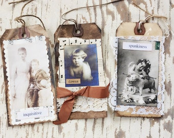 Tags, Primitive, Shabby Chic, Vintage Style, Vintage Photos, Gift Tags, Hang Tags, Altered Art, Collage, Prim Tags, Old Photos, Set of 3