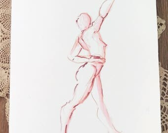 Red Standing Dance Reach Twist Mounted Print