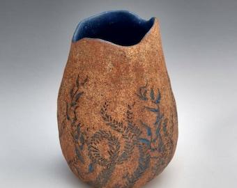 Big Sur. Carved sea kelp vase in blue. Inlaid with black sand. Medium statement vase, functional art by Chelsea Mae