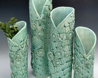 Blue Christmas, medium blue flower vase, ocean floor, coral reef fishnet vase. Coastal decor sculpture. Functional art by Chelsea Mae