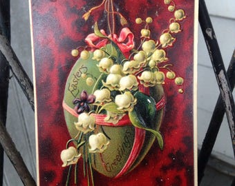 Vintage Easter Egg Postcard with Lily of the Valley