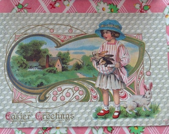 Victorian Easter Postcard Girl in Easter Bonnet with Bunnies Vintage Embossed 1914