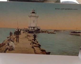 Vintage Lighthouse Postcard Outer Light Saybrook Connecticut 1940