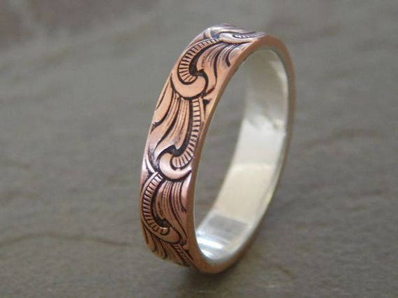 PAISLEY Silver Copper Mens Wedding Ring Womens Band Unique