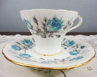 Aynsley Corset Cup with Blue Roses - English Bone China - Mint
