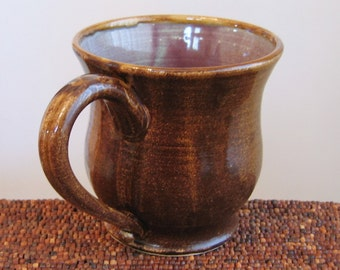 Huge Mug, Large Pottery Coffee Mug in Purple Green and Tiger's Eye Brown 20 oz. Stoneware Ceramic Cup or Beer Stein