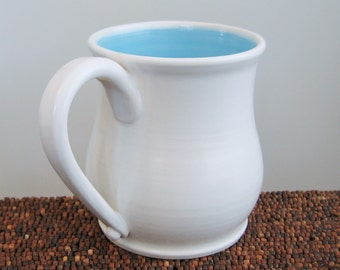 Large Coffee Mug 18 oz. Pot Belly Stoneware Ceramic Handmade Pottery Mug Blue Coffee Cup in Lagoon