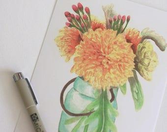 5x7 Watercolor Painted Postcard - Single Floral Postcard