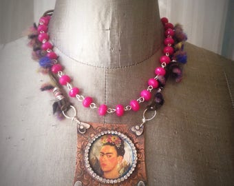 Frida Kahlo Mixed Media Statement Necklace **RESERVED**