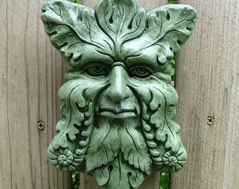 Concrete Greenman Plaque (Moss) Garden Sculpture