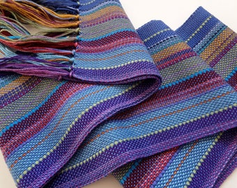 handwoven scarf blue in a blend of colorful hues