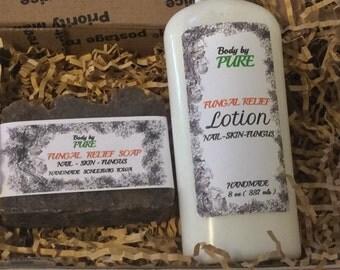 Fungi Treatment Kit-Natural Soap and  Lotion-Bath and Beauty-Natural Handmade Lotion-Athletes Foot Lotion-  8 oz bottle