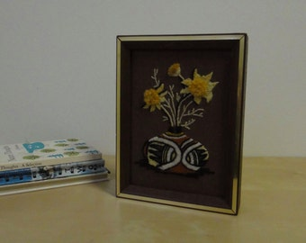 Vintage Framed Indian Pot with Flowers Embroidery