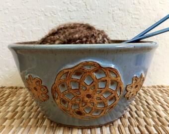 Large Ceramic Yarn Bowl - Knitting Bowl - Handmade Pottery - Mandala Design